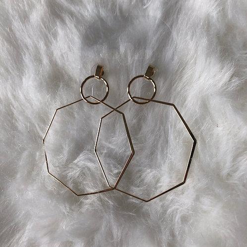 Gold Hexagon Statement Earrings