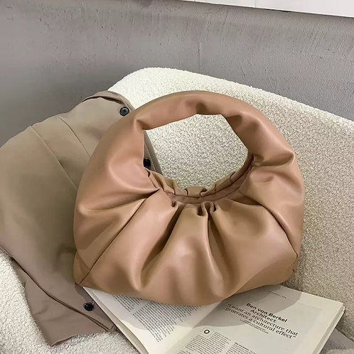 Luxe Slouchy Shoulder Bag - Beige