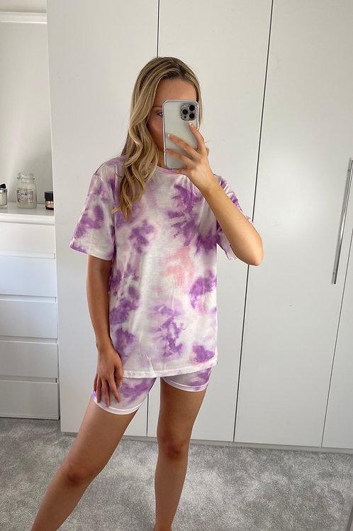 Tie Dye Cycling Shorts Set - Purple