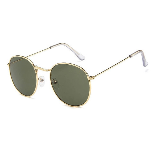 'Dubai' Round Sunglasses - Gold and Green