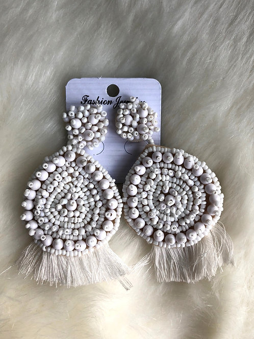 Emily Tassel Earrings - White
