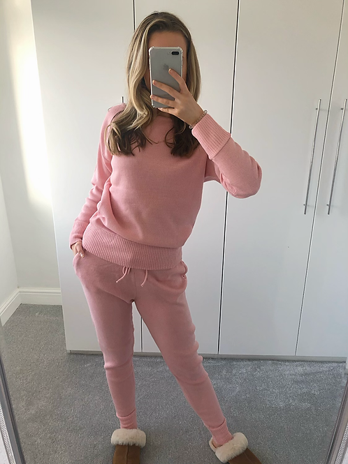 'Millie' Knitted Loungewear Set - Pink