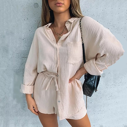 'Sophie' Cheesecloth Shirt & Shorts Set - Beige (Pre-order 2 weeks)