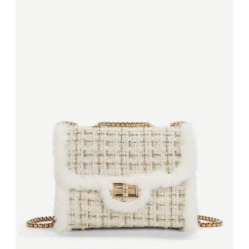 'Mia' Fur Trim Chain Bag - White