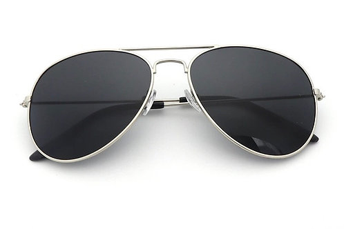 'Miami' Aviator Sunglasses - Silver and Black