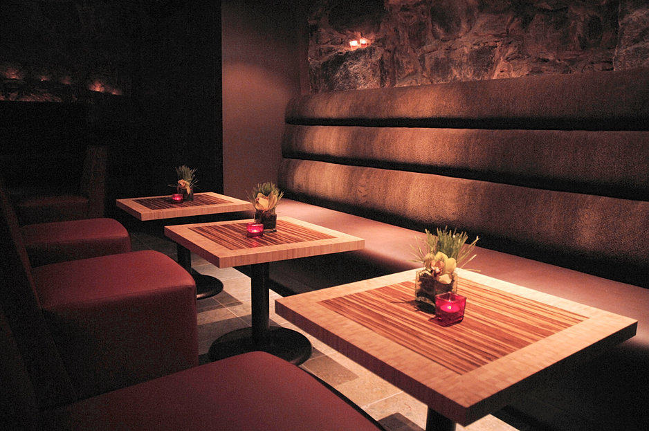 Custom Banquette And Bamboo Tables