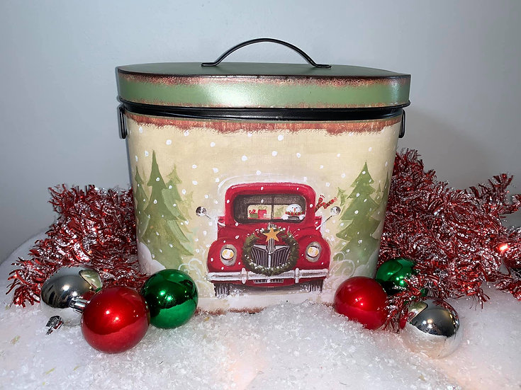 Red Truck Tin with handles