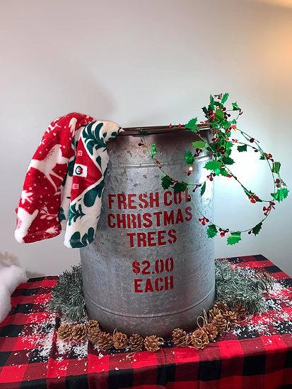 Fresh Cut Trees Metal Bucket