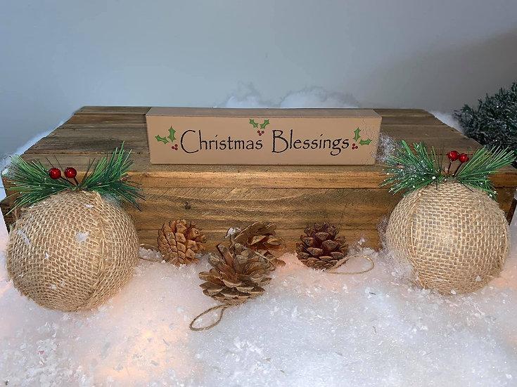 Christmas Blessings Block Sign