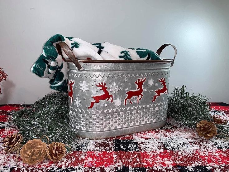 Deer Tin Bucket with handles
