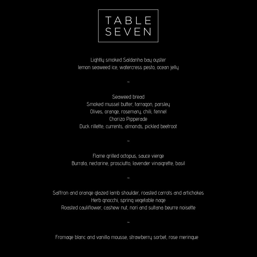 Table Seven Menu