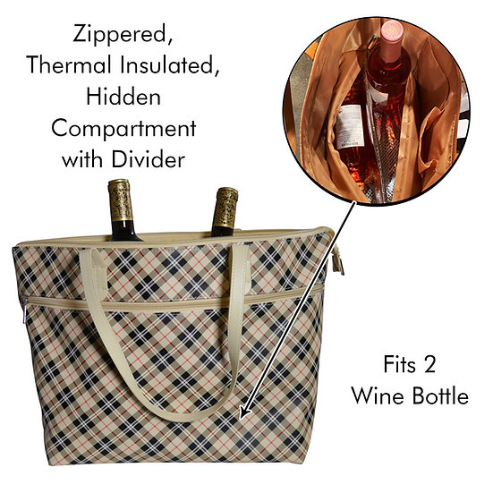 Tan Plaid Tote with insulated wine compartment