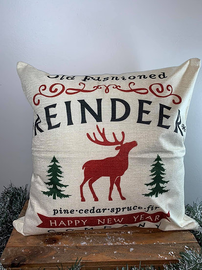 Old Fashioned Reindeer Pillow