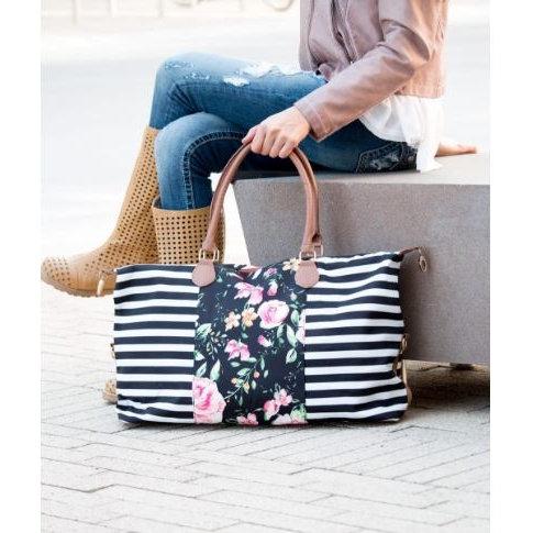Stripe/Floral Weekender