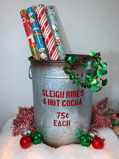 Sleigh Rides Metal Bucket with handles