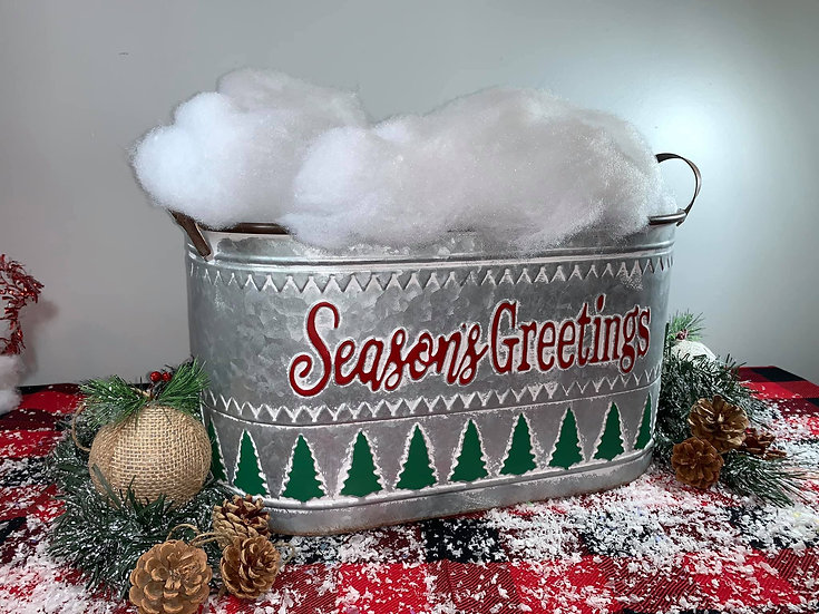 Seasons Greetings Tin Bucket with handles