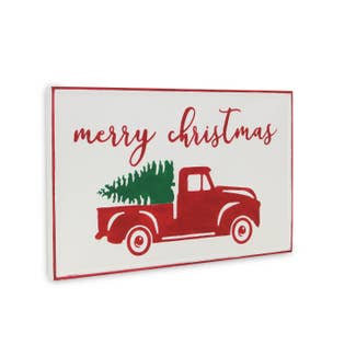 Red Truck Merry Christmas sign