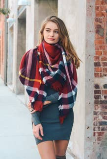 Classic Plaid Blanket Scarf (Red/Navy/White)