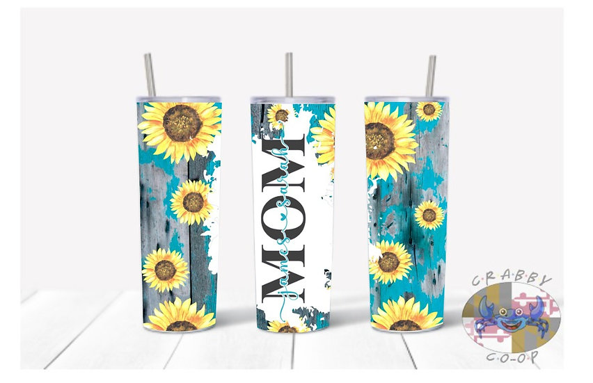 Mom Rustic Sunflowers Tumbler