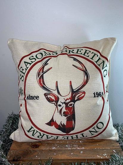 Seasons Greetings Reindeer Pillow