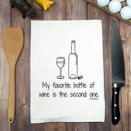 """""""Favorite bottle of wine"""" Towel"""