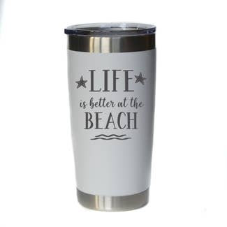 Life is better at the Beach Mug w/ Lid (White)