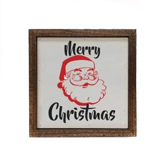Santa Merry Christmas wood sign