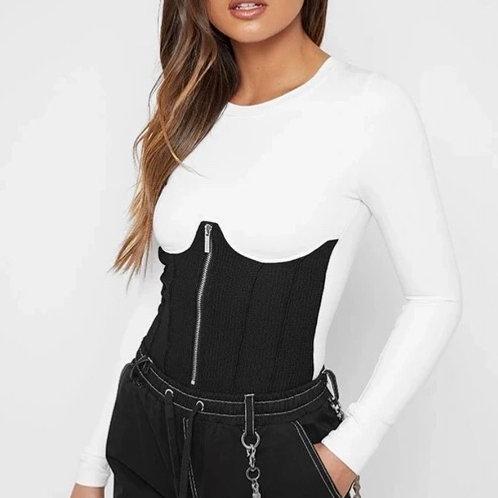 White & Black Underbust Corset Bodysuit