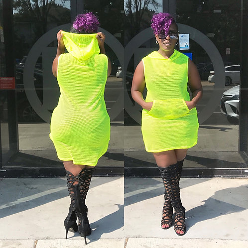 Lime Jersey Style Knitted Cover Up