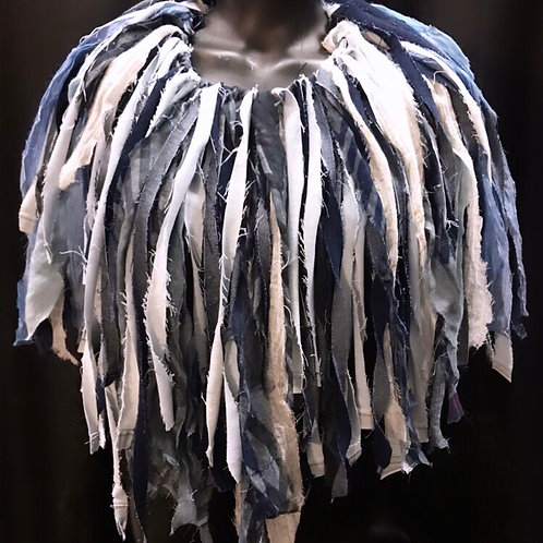 Oversized Frayed Jean Fringe Necklace