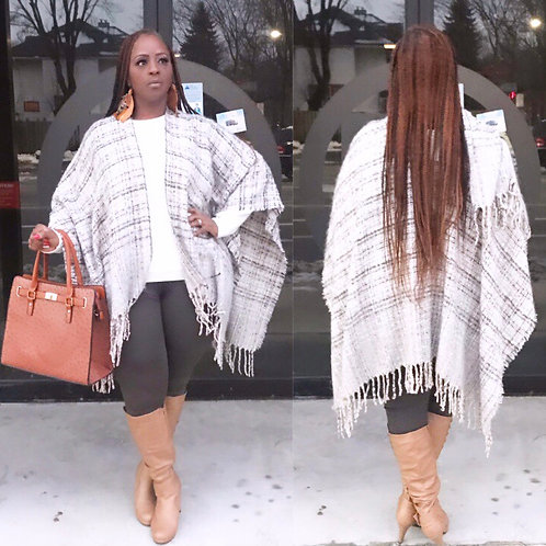 Taupe Checkered Poncho