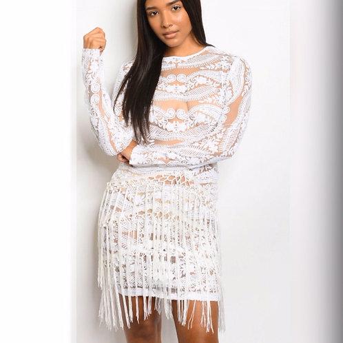 Selena Fringe Lace Dress