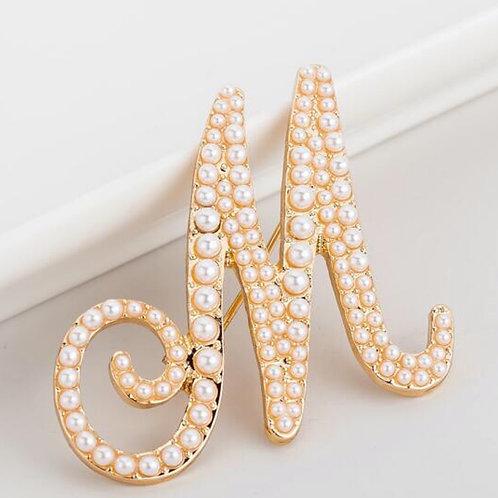 "Initial ""M"" Pearl Brooch"