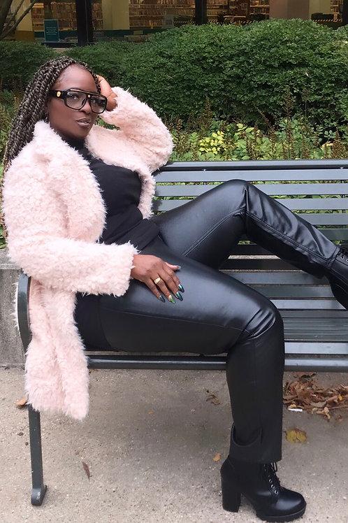 Fuzzy Pink Blazer Coat