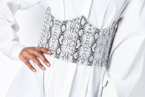 Studded Snake Print Corset Belt