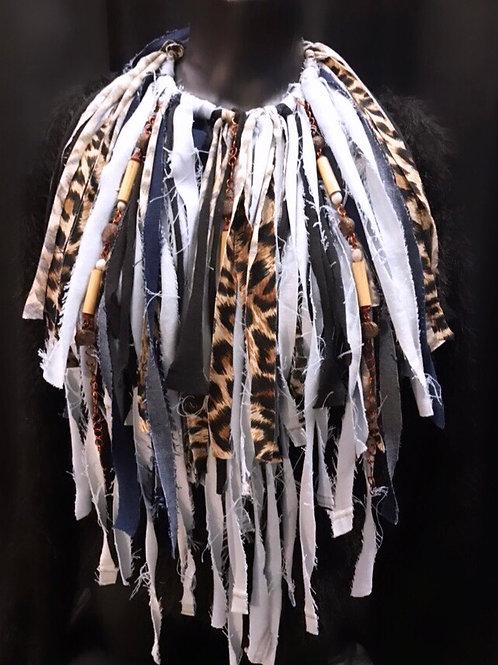 Animal Frayed Fringe Necklace