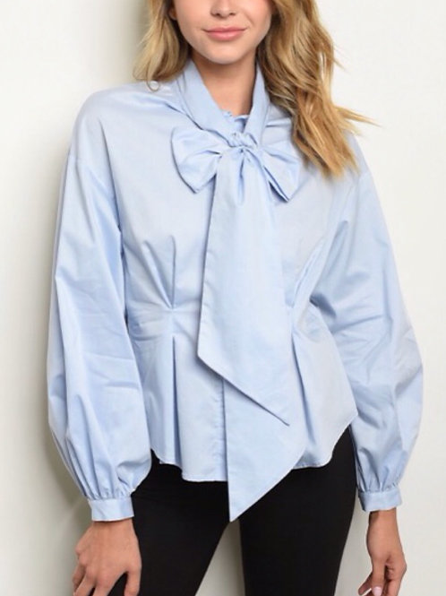 Powder Blue Bow Tie Top