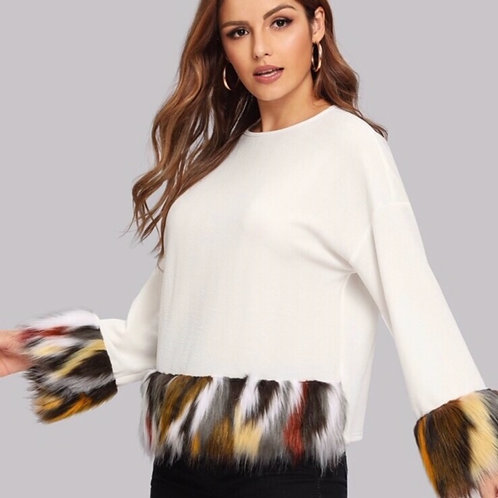 Off White Sweater with Fur Trim