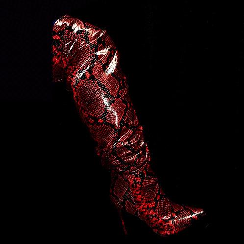 Snake Print Thigh Length Boot