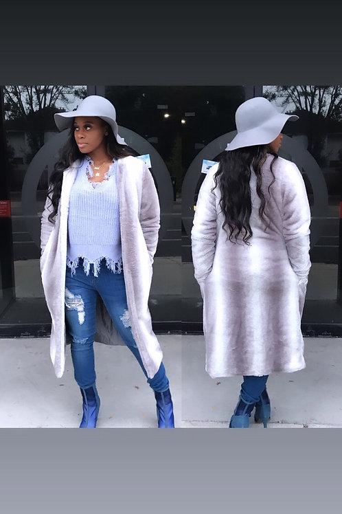 Grey & White Faux FurFuzzy Coat