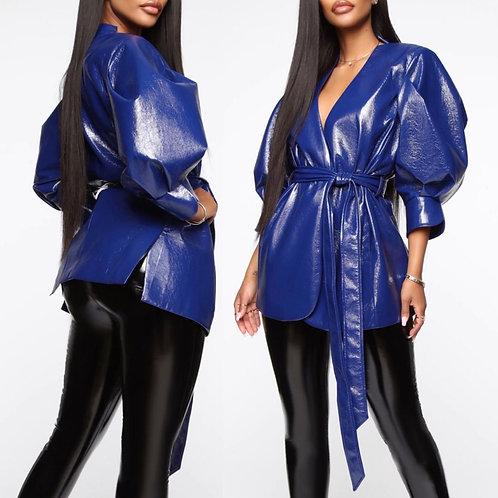 Megan Patent Leather Wrap Blazer