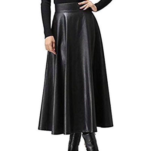 Black Faux Leather Maxi Skirt