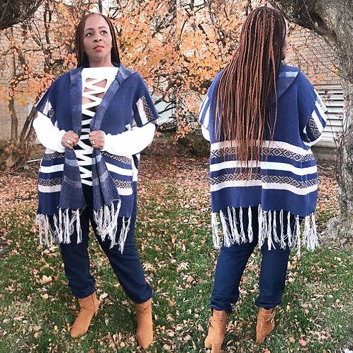 Blue Tribal Striped Poncho
