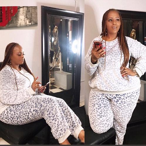Animal Print Plush Pajama Set