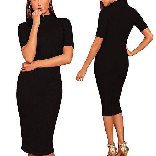 Black Midi Dress (Cap Sleeves)
