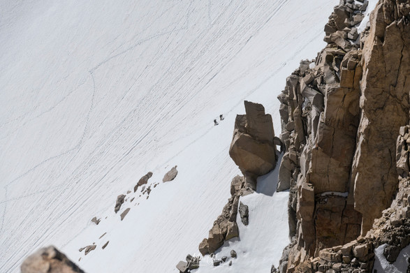 Climbers headed up Mt Whitney
