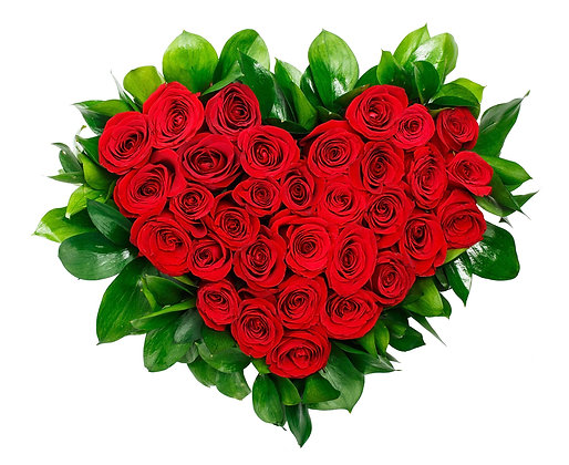 לב ורדים רומנטי