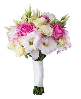 זר כלה עדין ורדים וליזיאנטוס