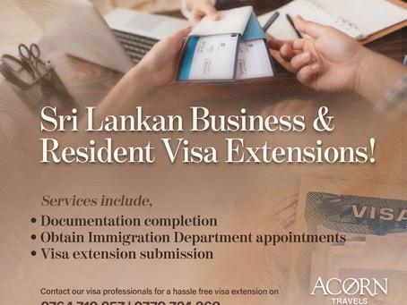 Sri Lankan Business and Resident Visa Extensions