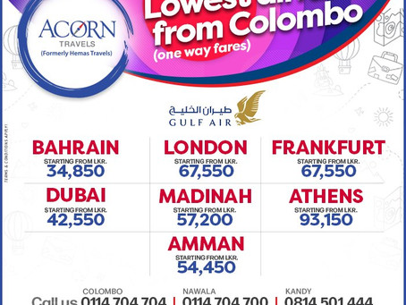 LOWEST AIRFARES from Colombo on Gulf Air!